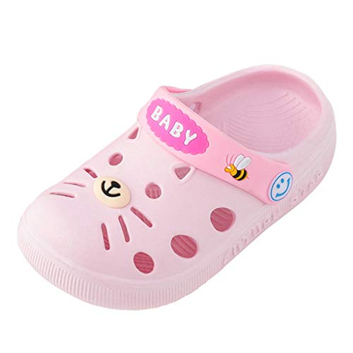 Baby Toddler Boys Girls Home Slippers Sandals 1-5 Years Old Kids Cartoon Cat Floor Casual Shoes Sandals (6-12 Months, Pink)