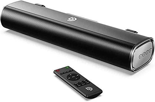 Soundbar per PC, soundbar TV da 50 W / 105 dB, altoparlante soundbar TV da 16 pollici, Bluetooth 5.0, telecomando, ottico, cavo RCA incluso - Tapio I, nero