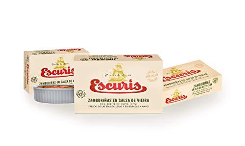 ESCURÍS. Zamburiñas en Salsa de Vieira con Aceite de Oliva (17%), frescas de las Rías Gallegas y elaboradas a mano. Pack 3 latas x 111g.