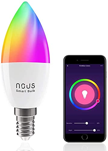 Nous P4 WiFi RGB Led dimmerabile lampadina. Alexa echo dot, Google Home, Tuya smart life compatibile luci colorate intelligente. Lampadine e14 luce calda-fredda-naturale. App telecomando. 4,5W. 380lm