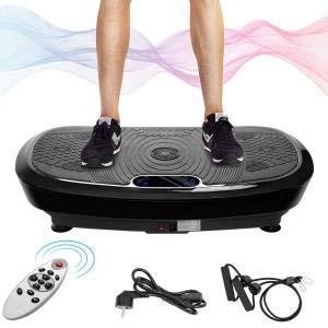 Vibrationsplatte 3D mit Ultra leisem 180 Stufen 2 Kraftvolle Motoren 1 Trainingsbänder Bluetooth Lautsprecher Fernbedienung Einfache Aufbewahrung Schlankes Design Body Shaping Muskel Bauen(schwarz)