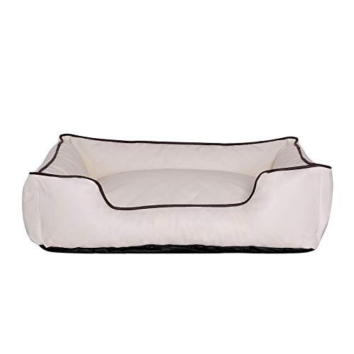 dibea Cama para perros premium imitación de piel Sofá de perro lavable (L) 100x75 cm Beige