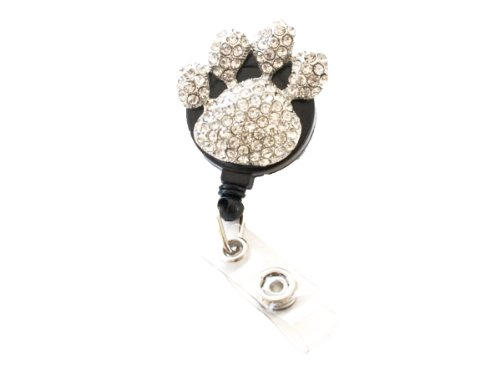 Sizzle City New Custom Bling Rhinestone 3D Puppy Paws Badge Reel Retractable Animal Paws ID Badge Holder Pull Reel