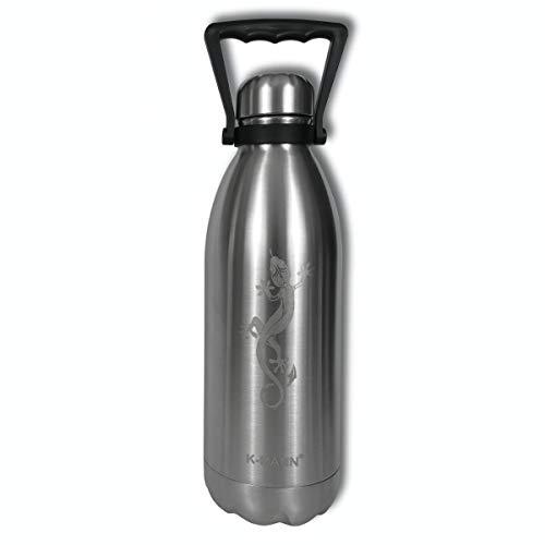 K-mann Grande Borracia Isolata in Bottiglia d'acqua Riutilizzabile in Acciaio Inossidabile con Metallo Inciso 1.5L 1500ml (Lezard)