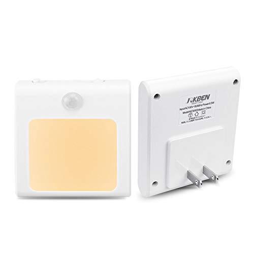 センサーライト 人感 足元灯 JOKBEN 三つモード コンセント 明るさ調節 LED 廊下 玄関 階段用 電球色 2個セット