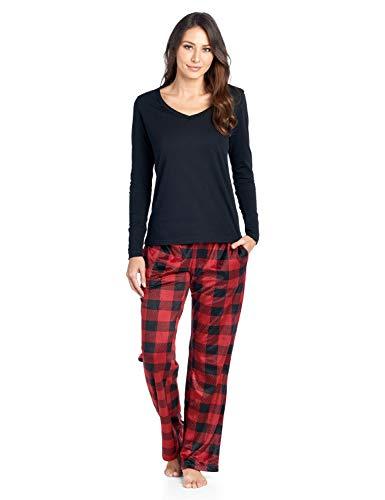 Ashford & Brooks Women's Long Sleeve Cotton Top with Mink Fleece Pants Pajama Set - Red Buffalo Check - 2X-Large