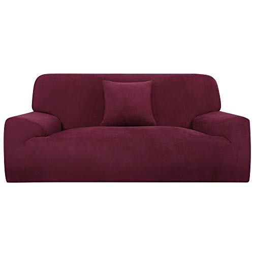 sourcing map L-Shaped Stretch Sofa Covers Chair Cover for 1 2 3 Seater Couch + a Pillow Cover Rot M