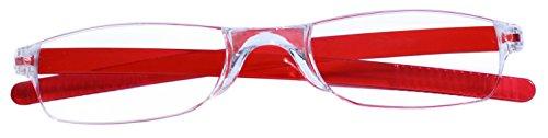 dy_mode Randlose Lesebrille Lesehilfe mit Etui und Brillenband von 1.00 bis 3.00 DPT - 6 Farben - LB006 (+2.00 Dioptrien, LB006 - Rot)