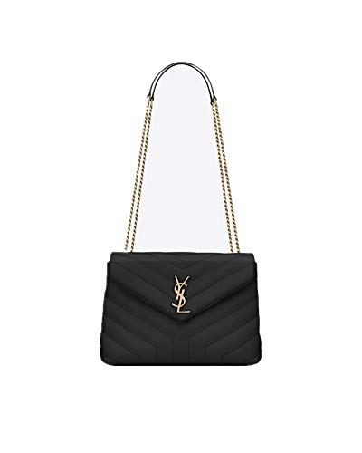 Saint Laurent Women's LOULOU Small Black Y-Sewn Leather Chain Bag(Bronze Metal Hardware)