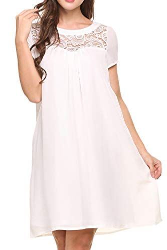 Women's Nightgown Lace V Neck Nightshirt Short Sleeve Sleepwear $3.80 (80% Off with code)