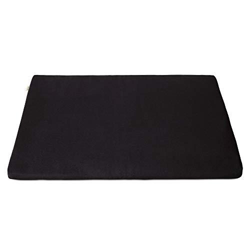 basaho Zabuton Estera de Meditación   Algodón Orgánico (Certificación Gots)   Relleno de Fibra de Lana Reciclada   Colchoneta de Meditación (Negro Zen)