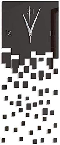 Reloj de pared con espejo acrílico 3D para interiores y ambientales creativos, 45 x 27 cm, tecnología de espejo negro