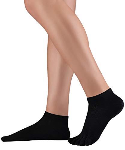 Knitido Dr. Foot® Silver Protect | Antimikrobielle Sneaker Zehensocken mit Silberfäden für Damen und Herren, gegen Schweiß und Fußpilz-Infektionen, Größe:43-46, Farbe:Schwarz