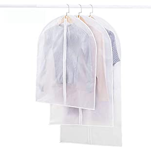 VSTON Clear Breathable Garment Clothes Covers Bags for Suit Dress Shirt Foldable Bags Waterproof Clothes Protective Bags, 3 Packs 3 Size:Ukcustomizer