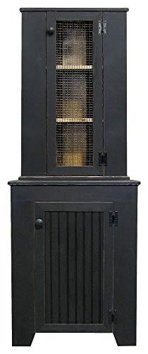 Corner Jelly Cupboard & Hutch Set (Old Black)