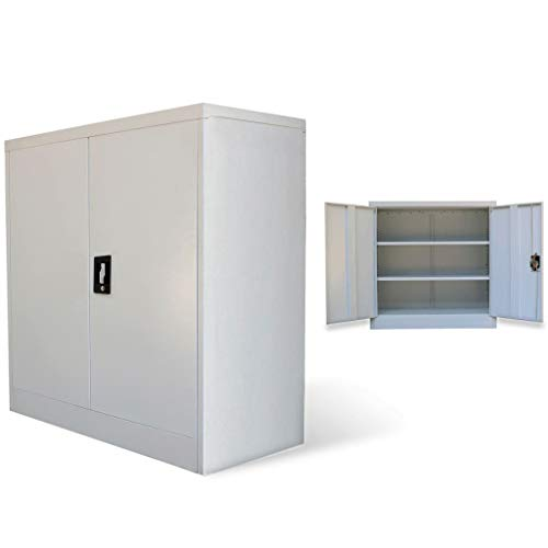 vidaXL Armario Archivador de Oficina con 2 Puertas Metal Acero Mueble Taquilla