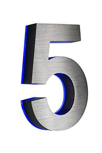 Numéro de maison 5en acier inoxydable en 3D lumineux environ H18cm/180mm LED Bleu (12volt) sans transformateur