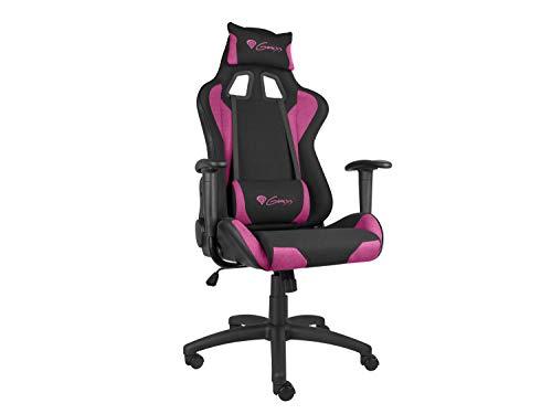 Genesis Nitro 440 Schwarz Violett Gaming Stuhl, Bürostuhl, Schreibtischstuhl, Ergonomisch mit Wippfunktion, Höhenverstellbar mit Lenden- und Nackenstütze