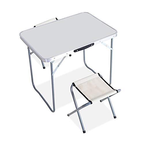 MENG 50x70cm draagbare multifunctionele campingtafel klaptafel en stoel Duurzaam en eenvoudig ontwerp bespaart ruimte voor kantoor, outdoor, thuis plus 2 stools wit
