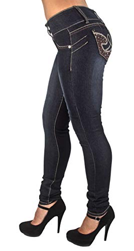 Style SF85100S-Colombian Design, Butt Lift, Levanta Cola, Skinny Jeans in Washed Black Size 11