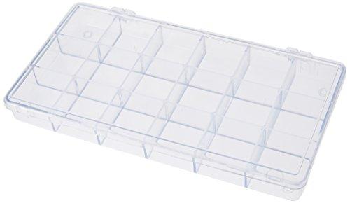Rayher 3901937 Sortierbox, mit 18 Fächern à 3,3 x 3,3cm, transparent, 20 x 10 x 2cm, praktische Aufbewahrung von Kleinteilen
