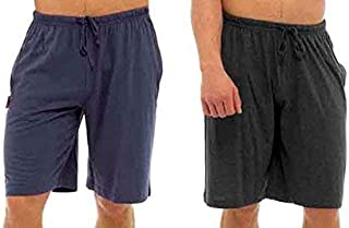 Best Deals Direct UK Mens Twin Pack Lounge Shorts Stretch Jersey Sleep Night Wear Pyjamas PJ Bottoms (3XL, dk Grey& Blue)