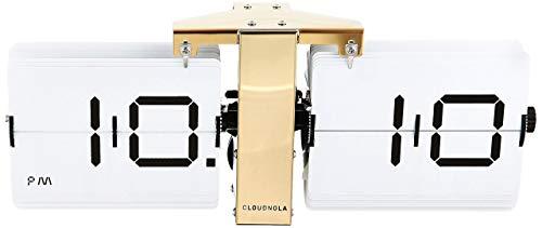 Cloudnola Retro Flip Uhr - Weiß und Gold - Stylische Tisch- und Wanduhr - Digitale Designer Flip Clock - Deko Uhr mit goldenem Metall Standfuß - Moderne Designer Standuhr