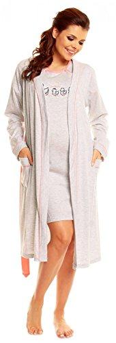 Zeta Ville Damen Umstands Still-Nachthemd Morgenmantel Set mit Druck - 385c (Koralle, EU 44, XL)