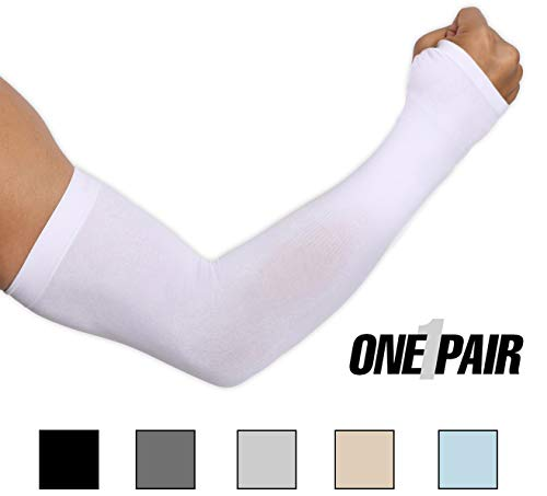 Tough Outdoors UV Protection Cooling Arm Sleeves, UPF 50 Sun Sleeves with Hand Cover for Men/Women, White