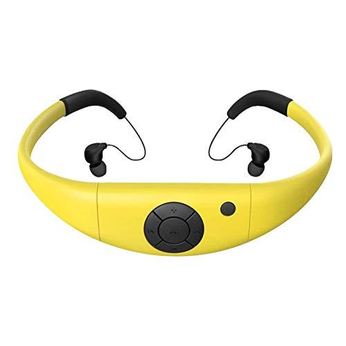 JFF IPX8 Reproductor MP3 Impermeable De 8GB, Auriculares para Natación con Aplicación Bluetooth FM, Funciona Durante 6-8 Horas Bajo El Agua A 3 Metros,Amarillo