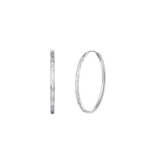 PAPAGENA Creolen Silber 925 Ohrringe Damen Groß Runde Kreolen 3 4 5 6 cm für Frauen