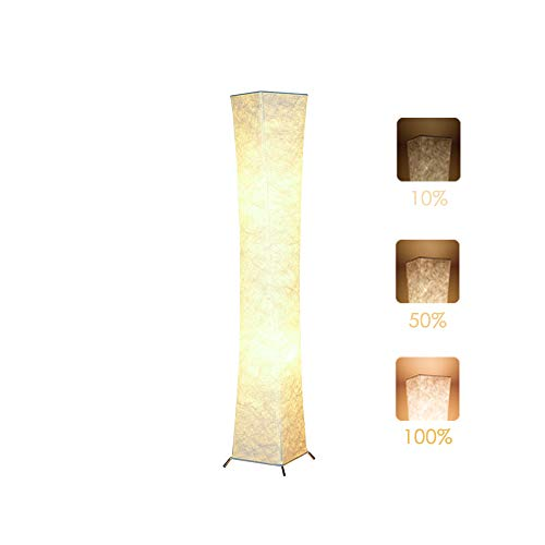 Floor Lamp, CHIPHY 52'' Dimmable Standing Lamps for Bedroom, 3 Levels Adjustable Brightness 12W/2 LED Bulbs(2400 LM, 100W Equivalent) and White Fabric Shade, Modern and Elegant for Living Room