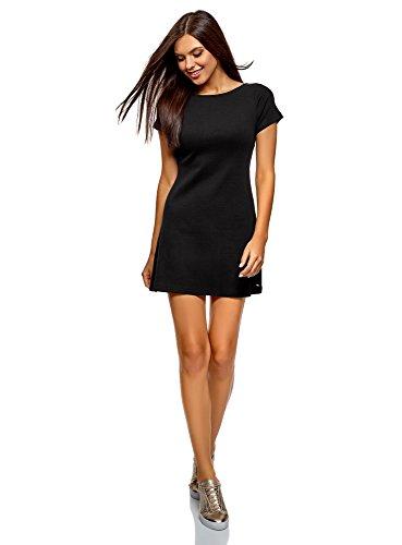 oodji Ultra Mujer Vestido Básico con Cuello Redondo, Negro, ES 42 / L