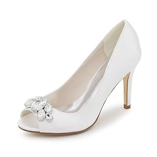 Zapatos de boda de fiesta para muje,Pedrería satinada,Punta Redonda con,Zapatos de novia...