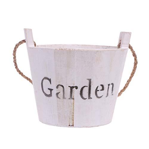 Lunji Pot de Fleurs Suspendu Bois - Porte Pots Décoration de la Maison Extérieur (Blanc)