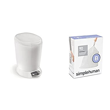 simplehuman 6 litre round step can white plastic + code B 90 pack liners