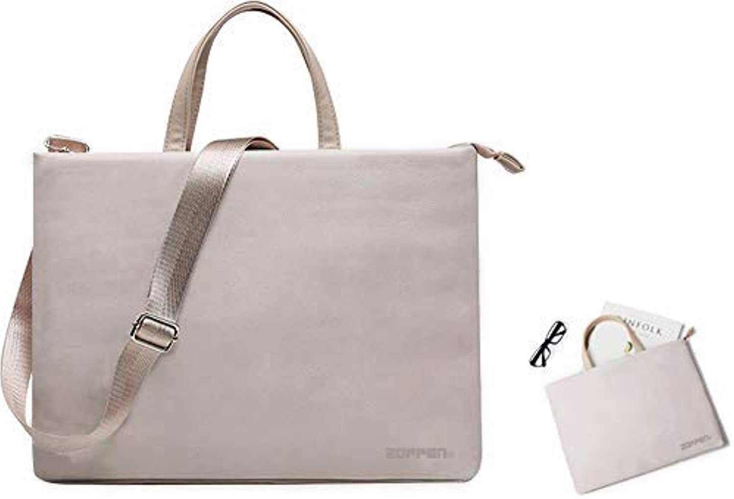 Zoppen Microfiber PU Leather Laptop Tote Bag Briefcase with Adjustable and Detachable Shoulder Strap for Women Fits 13-13.3inch Laptop,Grey