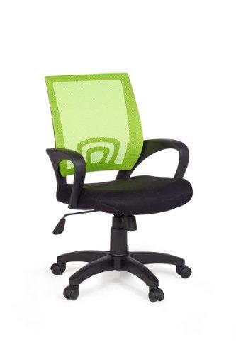 Amstyle Rivoli Chaise de bureau avec accoudoir Revêtement tissu mesh Noir/citron vert