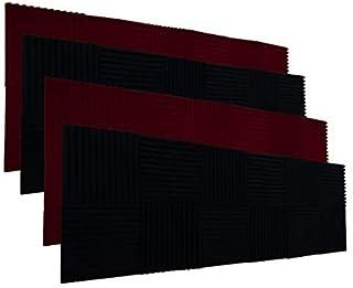 "YDHTDLHC 48 بسته 1 ""x 12"" x 12 ""سیاه / شراب قرمز Acoustic Wedge Studio Foam Sound جذب پنل های دیواری (سیاه / قرمز شراب"