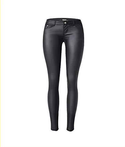 XSMG Dames Kleding Lage Taille Elastische Force Coating PU Imitatie leer Jeans Broek Rits Knop Alinea