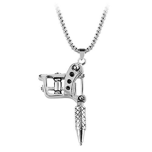 LHXMY Mini Tattoo Maschine Halskette Anhänger Punk Style Halskette Männer Und Frauen Punk Halskette, Weiß K, 60Cm