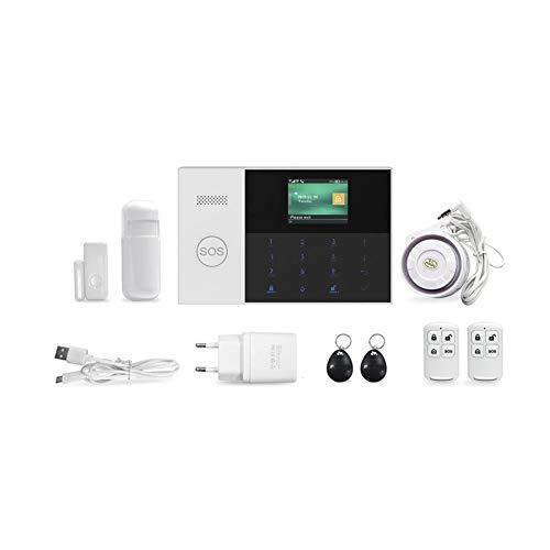 Biback Kit de Sistema de Alarma para el hogar Control Remoto Pantalla LED Inteligente Indicador de Voz Casa Oficina Negocio Alarma contra robos Marcado automático 120DB