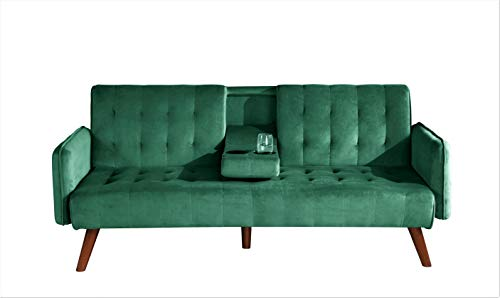 US Pride Furniture Round Arms Bed, Modern Sleeper Sofa with 2 Cup Holders, Green Sofabed