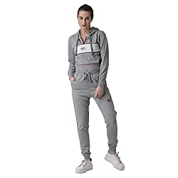 Griffel Womens Solid Hooded Neck Fleece and Joggers Full Set Tracksuit