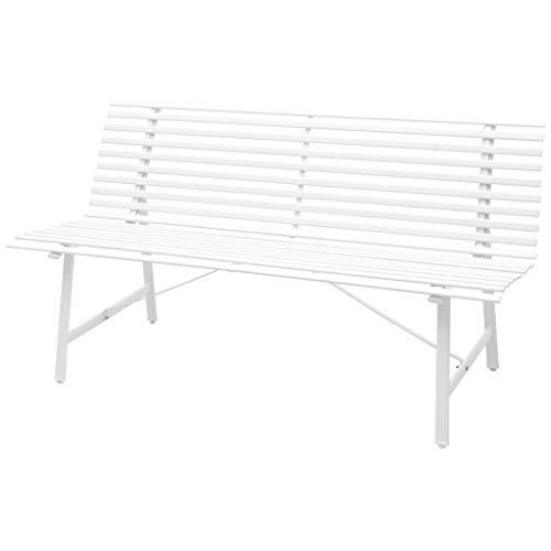 Gartenbank Sitzbank Gartenmöbel Parkbank | 3 Sitzer Stahlrahmen 150 x 62 x 80 cm Weiß | Garten Bank Balkonbank | Wetterfest, pflegeleicht und Zeitloses Aussehen