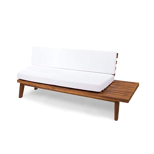 Christopher Knight Home Eulah Indoor Minimalist Acacia Wood Right-Sided Sofa with White Cushions, Sandblast Finish / White