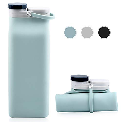 E-Senior Collapsible Silicone Bottles Sports Water Bottle travel Lightweight Leak Proof BPA Free for hiking Outdoor Sports 20oz (Blue)