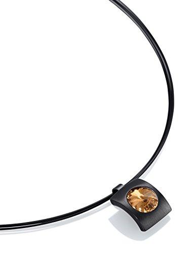 Heideman Halskette Damen Quadro aus Edelstahl schwarz matt Kette für Frauen mit Swarovski Stein Kristall Bernstein braun im Fantasie Edelsteinschliff