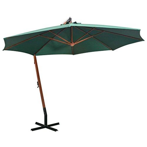 tidyard Sonnenschirm Ampelschirm Gartenschirm Freiarm Sonnenschutz Schirm Holzmast mit Kurbelmechanismus Stahl-Fußkreuz 350 cm Grün