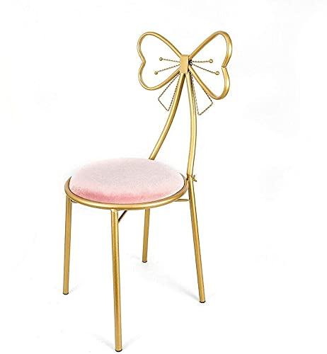 MZIKO Silla de vanidad de Lazo de Lazo de Mariposa Rosa, cojín de Terciopelo Marco de Metal salón cómodo Asiento con Respaldo, Uso para la Cocina Pub Dining Restaurant Home (Color : Pink)
